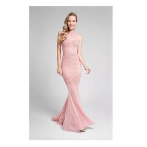 NWT Terani Couture Pink Gown Beaded Prom SZ 4